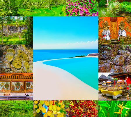 Set from images with views of Bali island