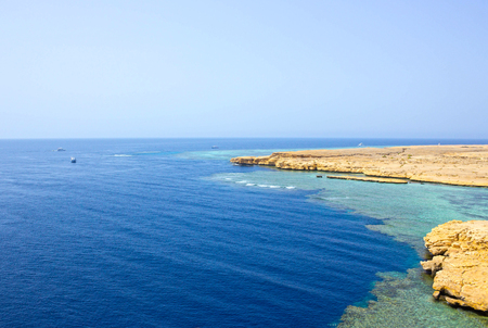 Bay with blue water in Ras Muhammad National Park in Egypt