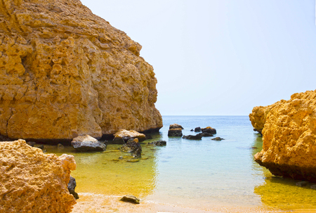 sinai desert: Bay with blue water in Ras Muhammad National Park in Egypt