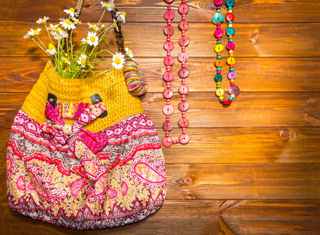 Bright Summer Accessories. Bag and Beads