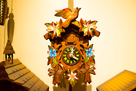The detail of swiss wooden clock Stock Photo
