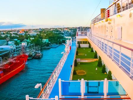 La Romana, Dominican Republic - February 05, 2013: The cargo ship docked in the port in bay at La Romana, Dominican Republic