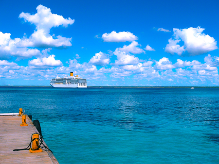 Catalina island, Dominican Republic- February 05, 2013: Costa Luminosa cruise ship, owned and operated by  Crociere, built  Fincantieri Marghera shipyard in 2009.