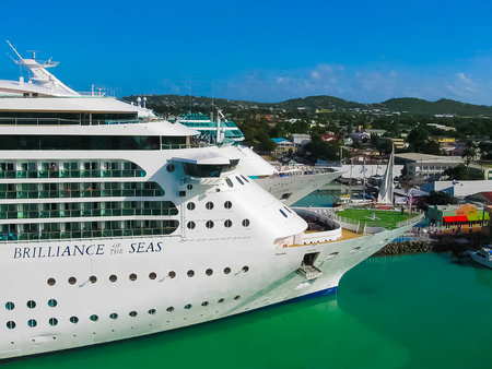 St. Johns, Antigua and Barbuda - February 07, 2013: Cruise ship Brilliance of the Seas Royal Caribbean International in port
