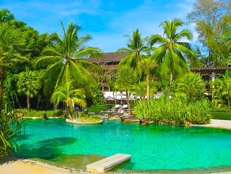 Nai Yang, Thailand - February 12, 2010: Beach side swimming pool at resort Thailand