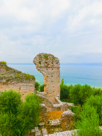 Ruins of Catullus Caves, roman villa in Sirmione, Garda Lake