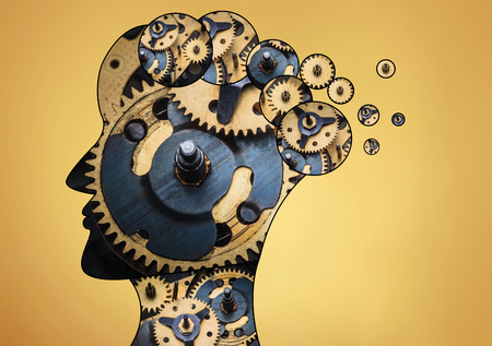 thinking machines: The male head is filled with gears on gold background.