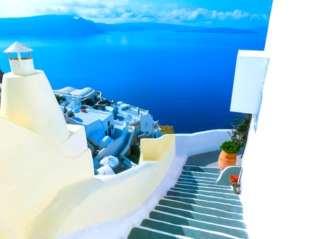 beautiful location: View to the sea from Oia village of Santorini island in Greece