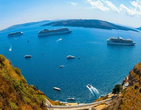 Santorini, Greece - The beautiful view of marina