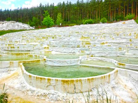 Egerszalok, Hungary - May 05, 2017: The Salt hills at the Saliris resort. Editorial