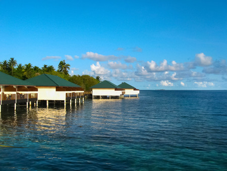 Over water bungalows and the blue sea