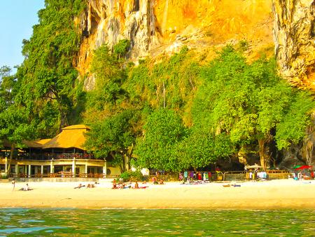 Railay island, Thailand - February 01, 2010: Tropical landscape. Railay beach, Krabi, Thailand