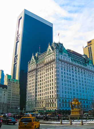 newyork: New York, USA - February 13, 2013: Legendary Plaza hotel is a landmark 20-story luxury hotel and condominium apartment.