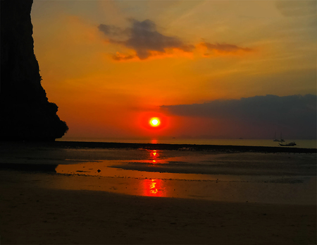 The tropical landscape. Railay, Krabi, Thailand at sunset Stock Photo