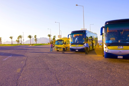 Sharm El Sheikh, Egypt - April 07, 2017: The tour bus by TEZ Tour waiting for tourists