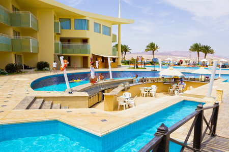 five star: Sharm El Sheikh, Egypt - April 8, 2017: The view of luxury hotel Barcelo Tiran Sharm 5 stars at day with blue sky