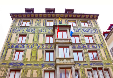Lucerne, Switzerland - May 02, 2017: The painting on the wall of a house in Lucerne, Switzerland Editorial