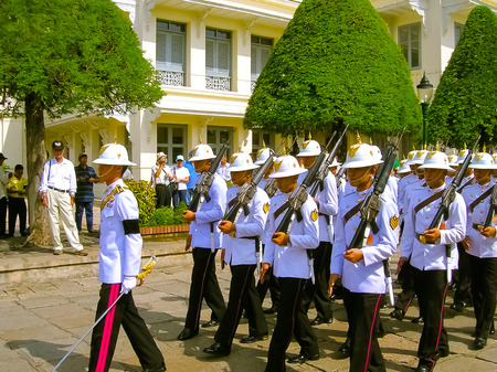 Bangkok, Thailand - June 30, 2008: Change of the guard  honor at Royal Palace