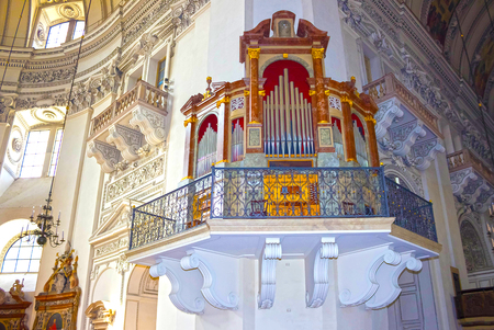 Salzburg, Austria - May 01, 2017: Interior of Salzburg Cathedral - details