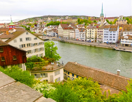 Beautiful view of Zurich and river Limmat, Switzerland