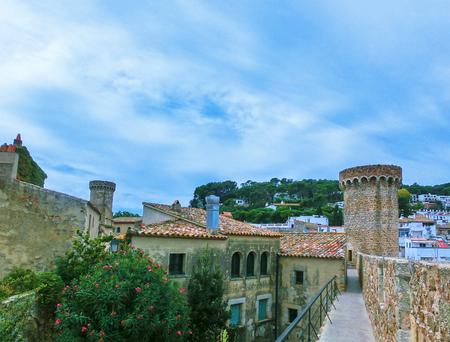 View of ancient fortress in Tossa de mar. Costa Brava, Spain Stock Photo