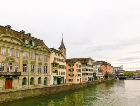 The view of Zurich and river Limmat, Switzerland
