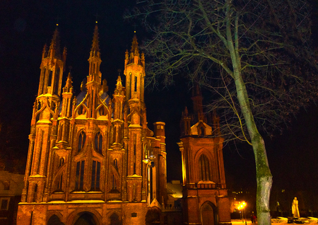 Beautiful Gothic Style St. Anne Church in VIlnius at night