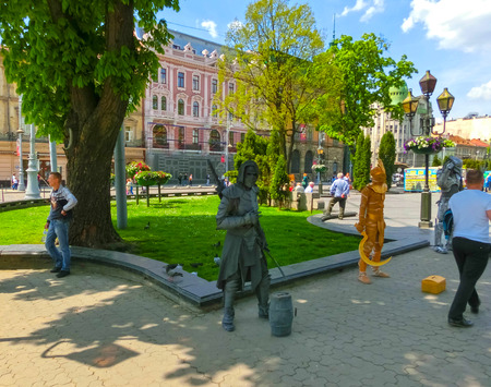 Lviv, Ukraine - May 6, 2017: Central market square Plosha Rynok in Lviv Editorial