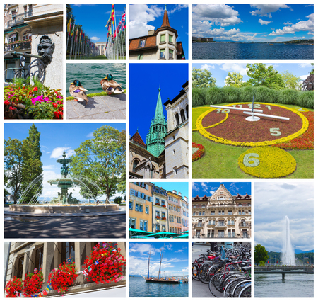 old english: The collage from images of Geneva, Switzerland Stock Photo
