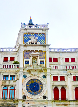 st  marks square: St Marks old clocktower to be seen by ships in the harbour of Venice, Italy