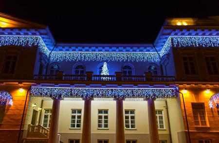 クリスマス イルミネーション、リトアニアのヴィリニュスの大統領宮殿の夜景