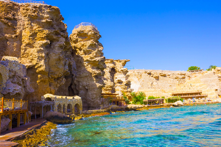 Sheikh: Panorama of the beach at the reef in Sharm el Sheikh, Egypt Stock Photo