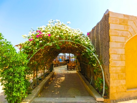 Sharm El Sheikh, Egypt - September 22, 2017: Outdoor restaurant and beach at the luxury hotel, Sharm el Sheikh, Egypt Editorial
