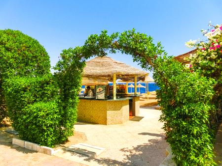 Sharm El Sheikh, Egypt - September 22, 2017: Outdoor bar and beach at the luxury hotel, Sharm el Sheikh, Egypt