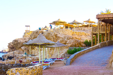 five stars: Sharm El Sheikh, Egypt - September 25, 2017: The view of luxury hotel Dreams Beach Resort Sharm 5 stars at day with blue sky