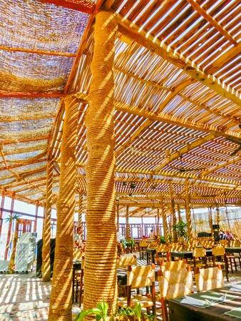 Sharm El Sheikh, Egypt - September 25, 2017: Outdoor restaurant and beach at the luxury hotel, Sharm el Sheikh, Egypt Editorial