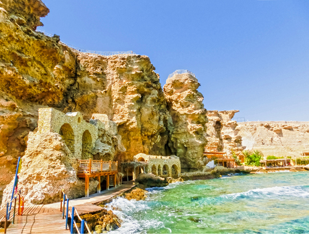 Panorama of the beach at the reef in Sharm el Sheikh, Egypt Stock Photo