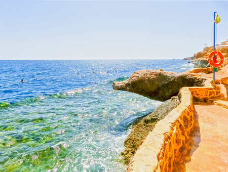 monte sinai: The staircase in the water at the beach at the reef in Sharm el Sheikh, Egypt