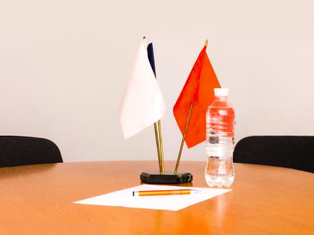 Flag. Table flag. Blank white flag. Mini flag. Small flag. blank flag on white Background