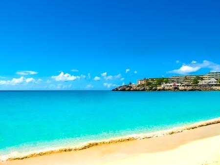 The beach at Maho Bay Stockfoto