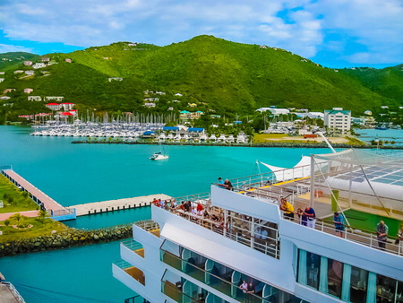 Road Town, Tortola, British Virgin Islands - February 06, 2013: Cruise ship Mein Schiff 1 docked in port Editorial