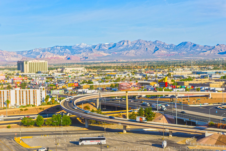 Las Vegas, Nevada, United States of America - May 04, 2016: The arial view of Las Vegas and the Las Vegas Strip