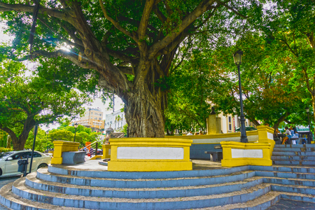 The Plaza Eugenio Maria de Hostos in old San Juan. Colonial architecture in San Juan, Puerto Rico Stock Photo