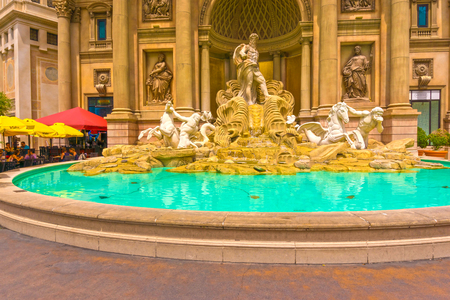 Las Vegas, United States of America - May 05, 2016: The Caesars Palace Horse Statue Fountain at hotel at Las Vegas, United States of America on May 05, 2016.