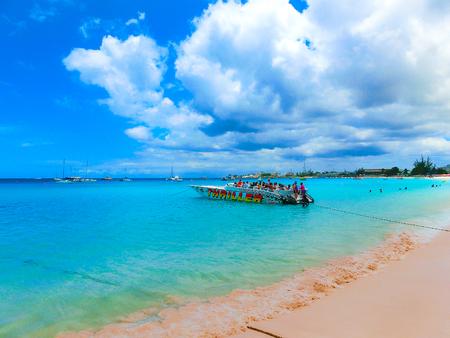 Bridgetown, Barbados - May 11, 2016: The tropical beach, Barbados, Caribbean