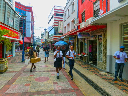 Bridgetown, Barbados - May 11, 2016: The streets at downtown of Bridgetown, Barbados Éditoriale