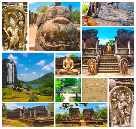 The collage from images of Polonnaruwa, Sri Lanka - temple and medieval capital of Ceylon