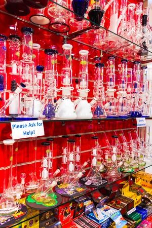 Amsterdam, Netherlands - December 14, 2017: The red water pipes in shop in Amsterdam city, Netherlands