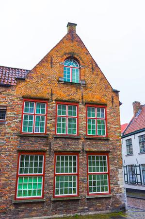 The evening shot of historic medieval building in Bruges, Belgium