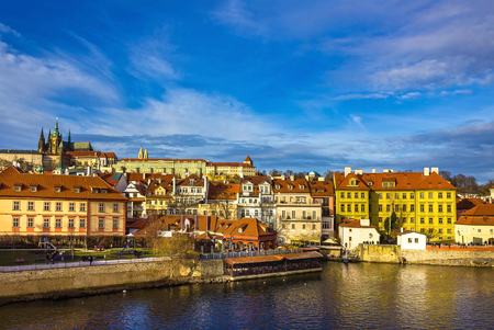 View of Mala Strana and Prague castle and St. Vitus Cathedral over Vltava river Stock Photo